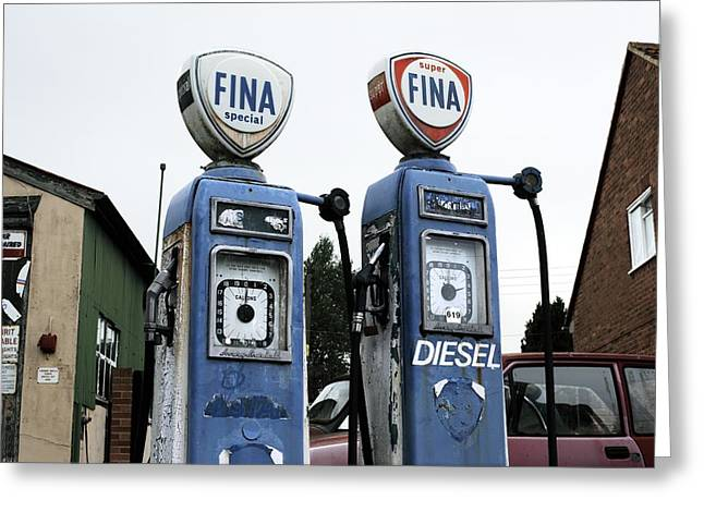 Fuel Gauge Greeting Cards - Vintage Fuel Pumps Greeting Card by Martin Bond