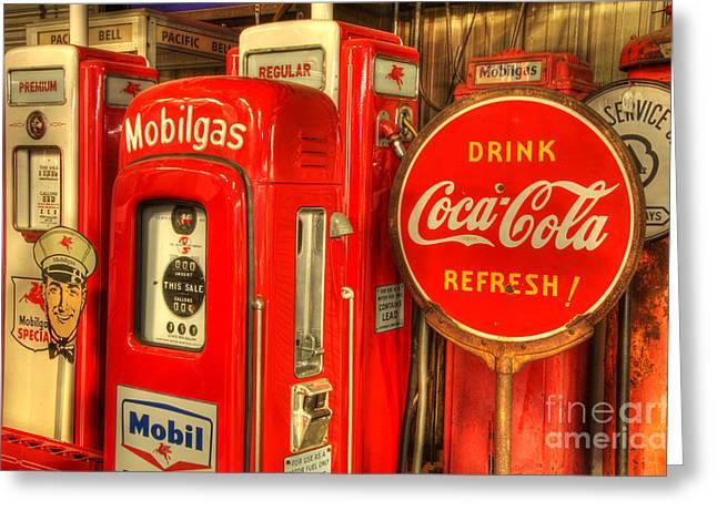 Vintage Coca Cola Sign Greeting Cards - Vintage Gasoline Pumps 2 Greeting Card by Bob Christopher