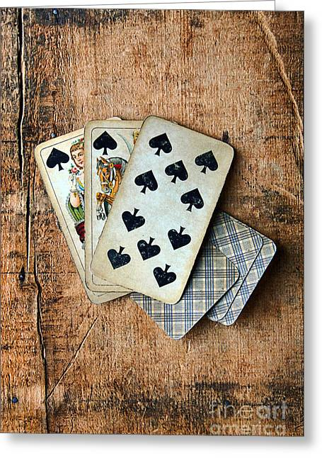 Playing Cards Greeting Cards - Vintage Hand of Cards Greeting Card by Jill Battaglia