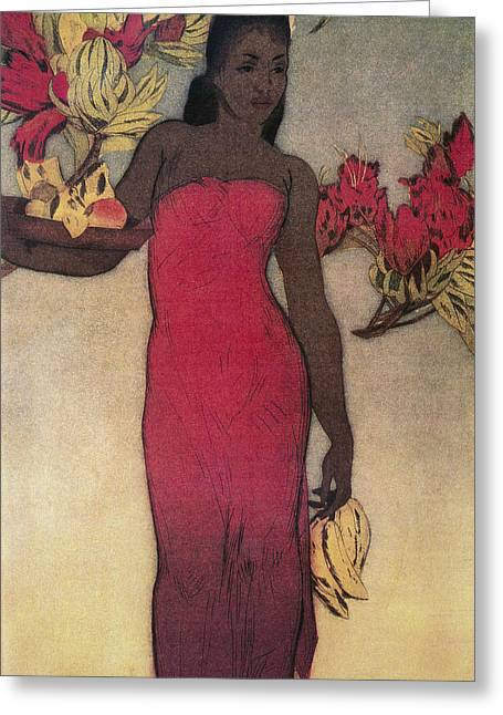 Recently Sold -  - Hand Drawn Greeting Cards - Vintage Hawaiian Woman Greeting Card by Hawaiiam Legacy Archives - Printscapes