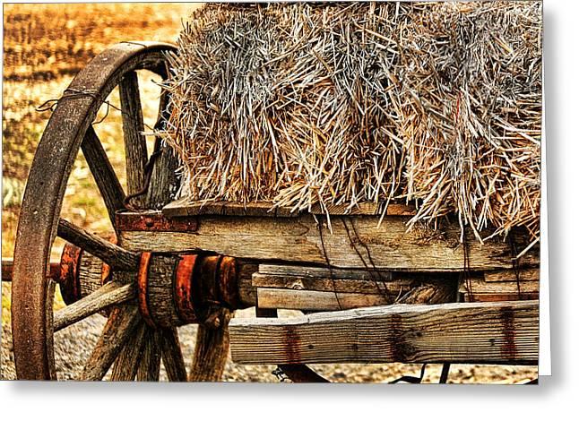 Hay Bales Greeting Cards - Vintage Hay Wagon Greeting Card by Bonnie Bruno