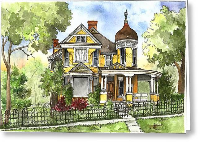 Cupola Paintings Greeting Cards - Victorian in the Avenues Greeting Card by Shelley Wallace Ylst