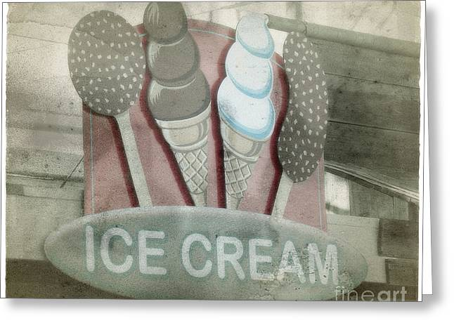 Santa Cruz Ca Greeting Cards - Vintage Ice Cream Sign Greeting Card by Jim and Emily Bush