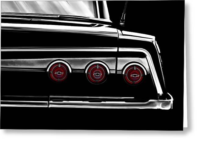 Auto Greeting Cards - Vintage Impala Black and White Greeting Card by Douglas Pittman