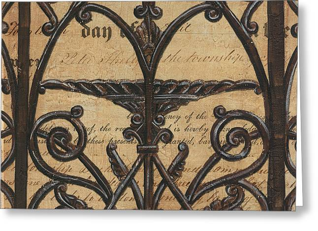 Antique Mixed Media Greeting Cards - Vintage Iron Scroll Gate 1 Greeting Card by Debbie DeWitt