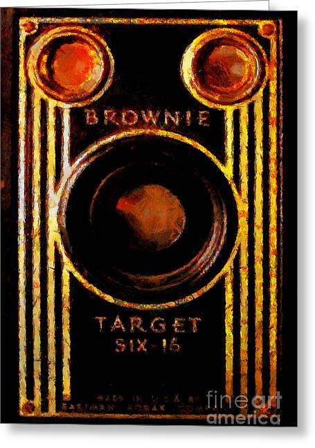 Slr Greeting Cards - Vintage Kodak Brownie Target Six-16 Camera Greeting Card by Wingsdomain Art and Photography