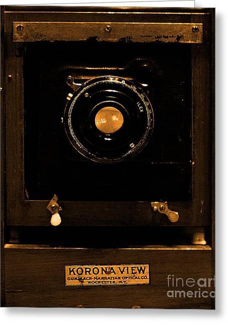 Reflex Greeting Cards - Vintage Korona View Camera . sepia . 7D13356 Greeting Card by Wingsdomain Art and Photography