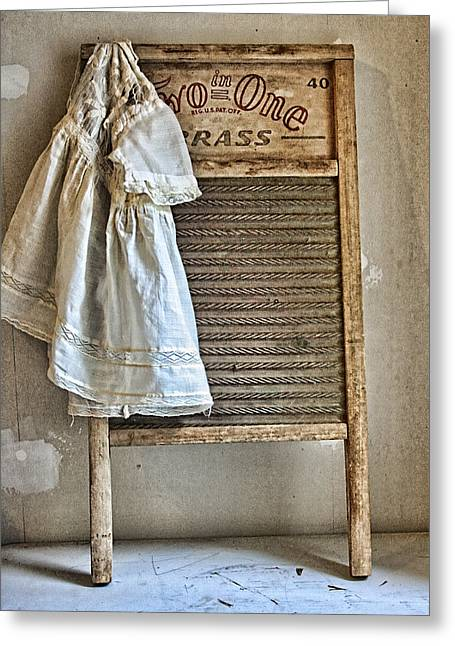 Washing Machine Greeting Cards - Vintage Laundry II Greeting Card by Marcie  Adams