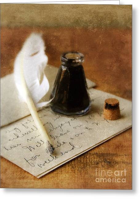 Love Letter Greeting Cards - Vintage Letter and Quill Pen Greeting Card by Jill Battaglia