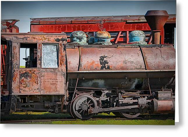 1880s Photographs Greeting Cards - Vintage Locomotive Train Engine Greeting Card by Randall Nyhof