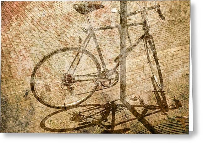 Vintage Looking Bicycle On Brick Pavement Greeting Card by Randall Nyhof