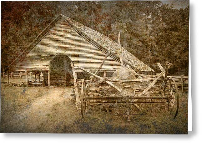 Split Rail Fence Greeting Cards - Vintage Looking Old Barn in the Great Smokey Mountains Greeting Card by Randall Nyhof
