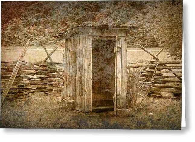 Split Rail Fence Greeting Cards - Vintage Looking Old Outhouse in the Great Smokey Mountains Greeting Card by Randall Nyhof