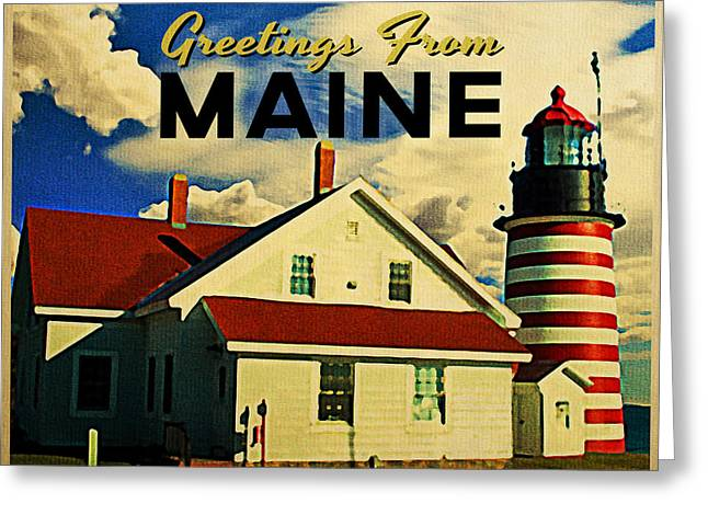 Maine Lighthouses Digital Greeting Cards - Vintage Maine Lighthouse Greeting Card by Flo Karp