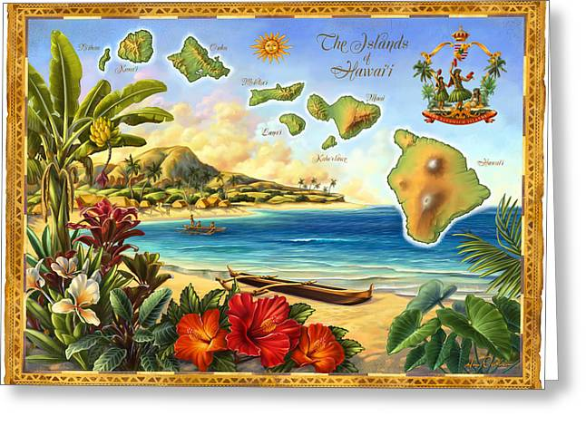 Recently Sold -  - Dancing Girl Greeting Cards - Vintage Map of Hawaii Greeting Card by Anne Wertheim