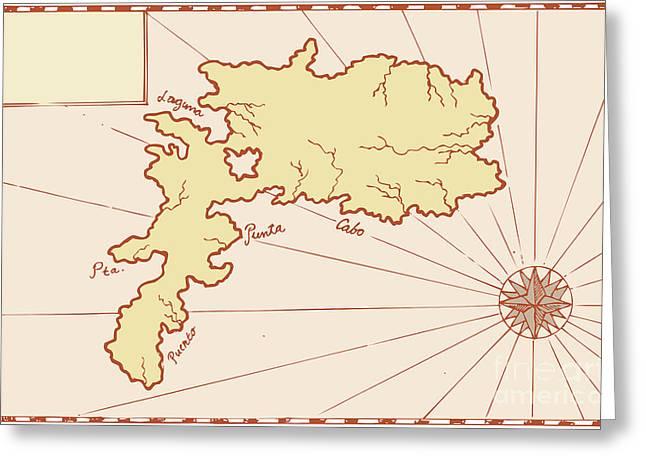 Vintage Map of Island Greeting Card by Aloysius Patrimonio