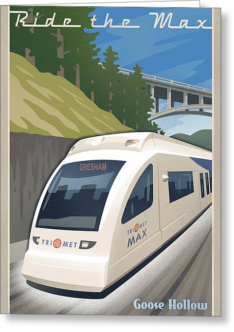 1930s Decor Greeting Cards - Vintage Max Light Rail Travel Poster Greeting Card by Mitch Frey