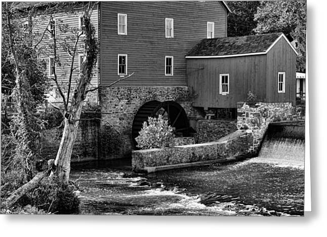 Vintage Mill in Black and White Greeting Card by Paul Ward