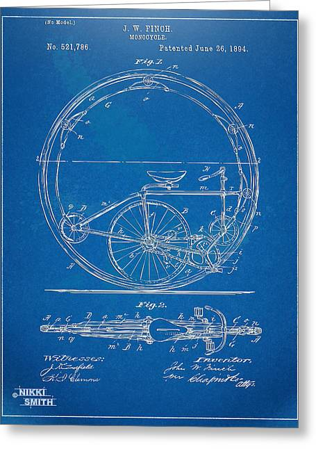 Vintage Bicycle Greeting Cards - Vintage Monocycle Patent Artwork 1894 Greeting Card by Nikki Marie Smith