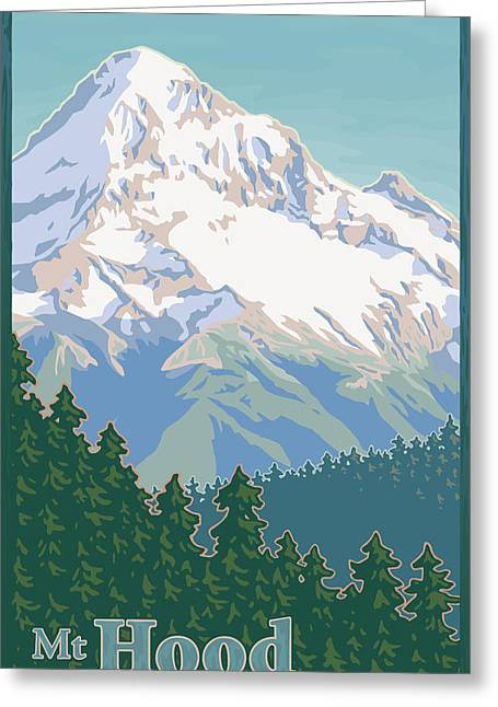 1930s Decor Greeting Cards - Vintage Mount Hood Travel Poster Greeting Card by Mitch Frey