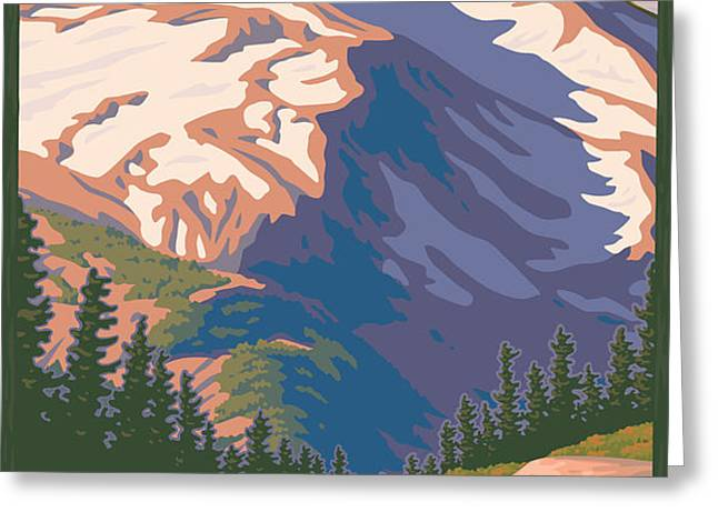 Vintage Mount Jefferson Travel Poster Greeting Card by Mitch Frey