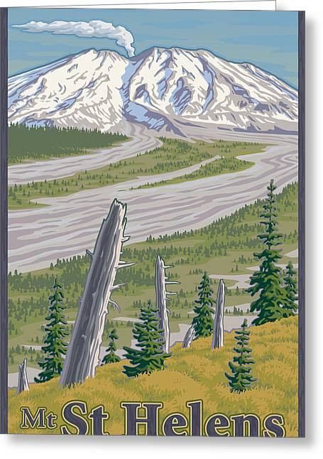 National Digital Art Greeting Cards - Vintage Mount St. Helens Travel Poster Greeting Card by Mitch Frey
