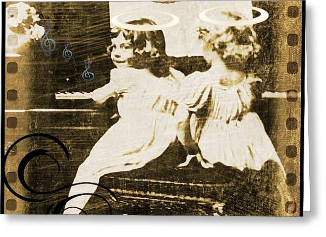 Playing Angels Digital Greeting Cards - Vintage Music Greeting Card by Tisha McGee