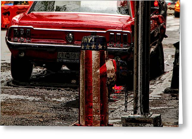 Flag Fire Hydrant Greeting Cards - Vintage Mustang Greeting Card by Andrew Fare