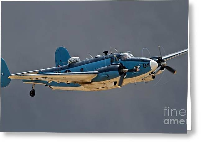 Planes Of Fame Greeting Cards - Vintage Naval Twin with Proptip Vortices 2011 Chino Planes of Fame Air Show Greeting Card by Gus McCrea