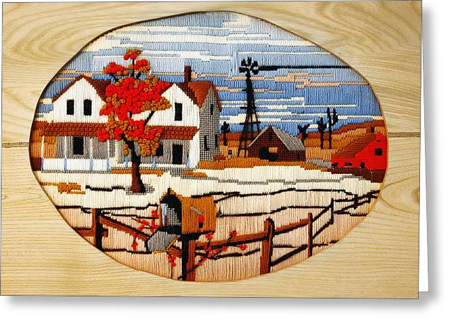 Needlepoint Greeting Cards - Vintage Needlework Country Scene Greeting Card by Marilyn Hunt