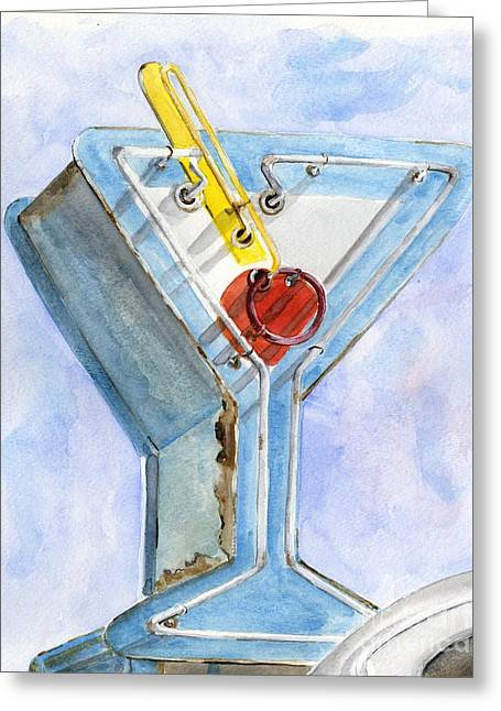 Vintage Neon- Martini Glass Greeting Card by Sheryl Heatherly Hawkins