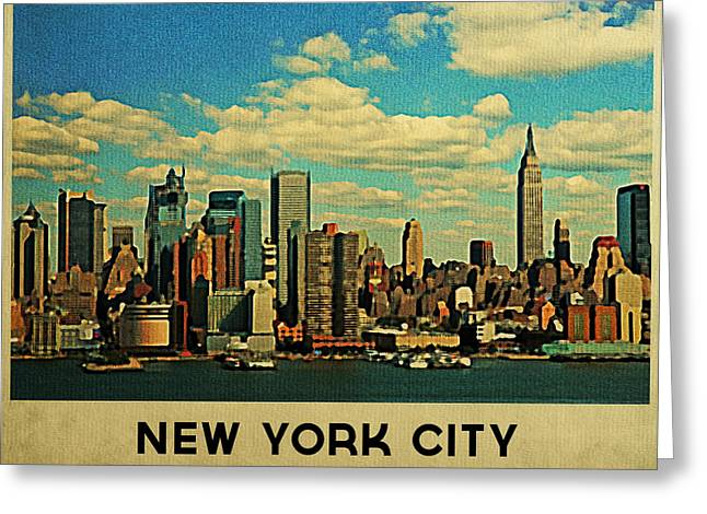 Nyc Posters Digital Art Greeting Cards - Vintage New York City Skyline Greeting Card by Flo Karp