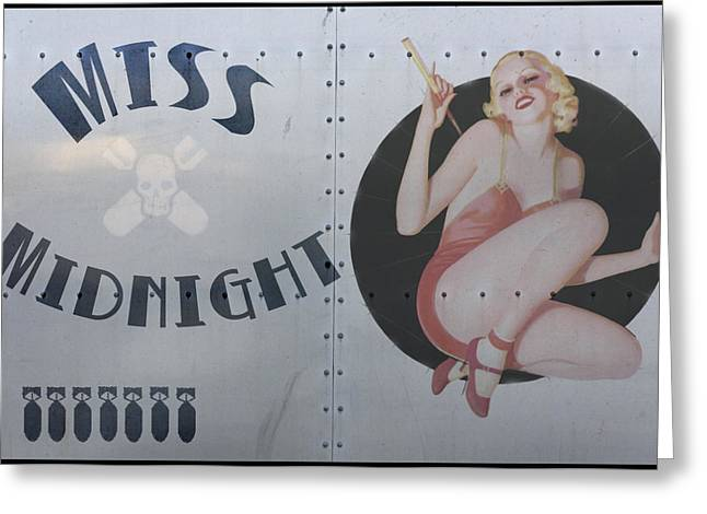 Nose Greeting Cards - Vintage Nose Art Miss Midnight Greeting Card by Cinema Photography