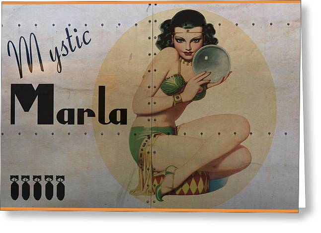 Nose Art Greeting Cards - Vintage Nose Art Mystic Marla Greeting Card by Cinema Photography