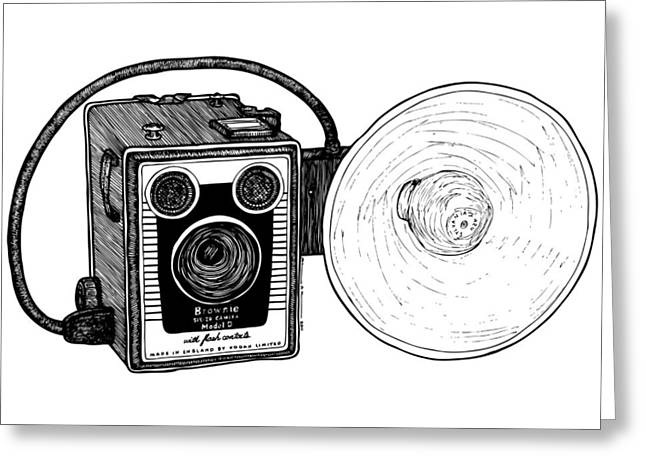 Amazing Drawings Greeting Cards - Vintage Old Brownie Camera Greeting Card by Karl Addison