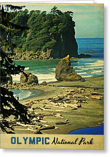 Olympic Mountains Greeting Cards - Vintage Olympic National Park Washington Greeting Card by Flo Karp