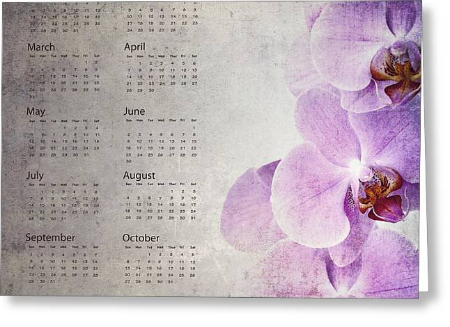 Grungy Greeting Cards - Vintage orchid calendar 2013 Greeting Card by Jane Rix