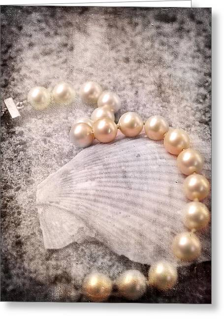 Gold Jewelry Greeting Cards - Vintage Pearls Greeting Card by Jai Johnson