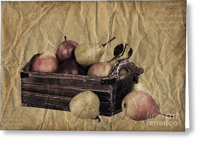 Words Background Greeting Cards - Vintage pears Greeting Card by Jane Rix