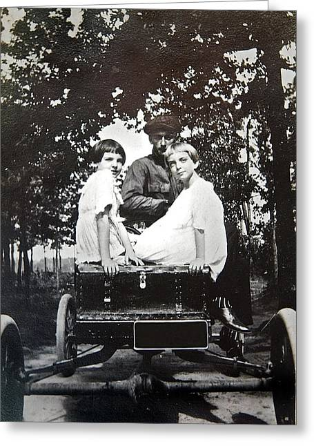 Susan Leggett Greeting Cards - Vintage Photo of Girls in a Car Greeting Card by Susan Leggett