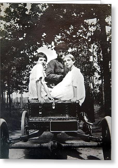 Susan Leggett Greeting Cards - Vintage Photo of Girls in a Car Greeting Card by Susan Leggett