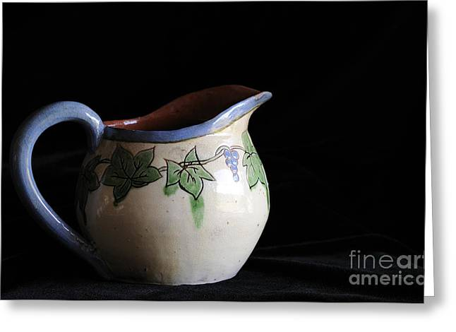 Hand Thrown Pottery Greeting Cards - Vintage Pitcher  Greeting Card by Nancy Greenland