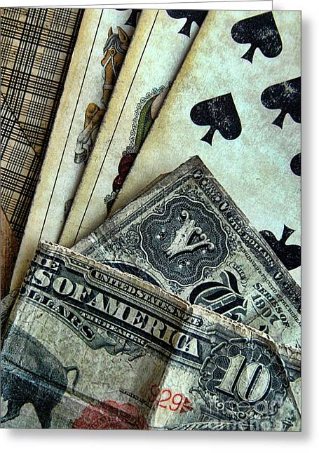 Playing Cards Photographs Greeting Cards - Vintage Playing Cards and Cash Greeting Card by Jill Battaglia
