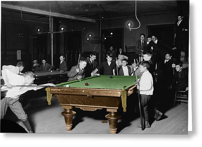 Billiards Greeting Cards - Vintage Pool Hall Greeting Card by Andrew Fare