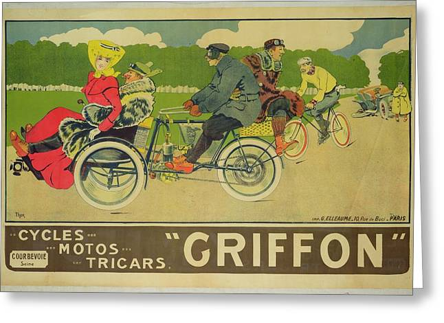 Cycles Paintings Greeting Cards - Vintage poster Bicycle Advertisement Greeting Card by Walter Thor