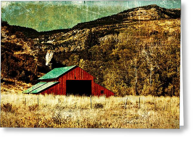 Outbuildings Greeting Cards - Vintage Red Barn Greeting Card by La Rae  Roberts