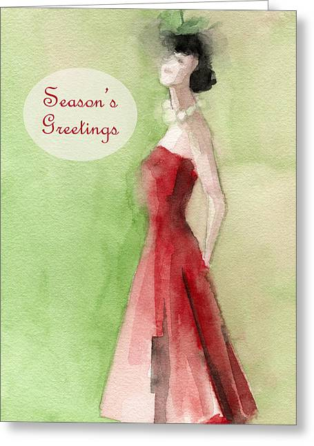 Holiday Greeting Greeting Cards - Vintage Red Dress Fashion Holiday Card Greeting Card by Beverly Brown Prints