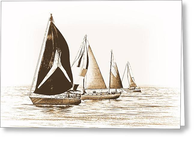 Water Vessels Mixed Media Greeting Cards - Vintage Regatta Greeting Card by Maria Dryfhout