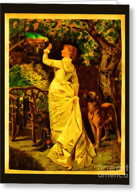 Vintage Reproduction Of Woman Feeding Parrot Greeting Card by Anne Kitzman