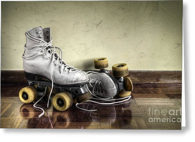 Antique Skates Greeting Cards - Vintage roller skates  Greeting Card by Carlos Caetano